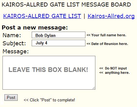 message board sample